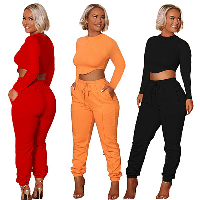 New Arrival 2021 Casual Long Sleeve Crop Top Fall 2 Piece Set Women Solid Color Two Piece Pants Set