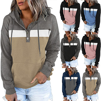 Fall 2021 Women Clothes Loose Contrast Color Patchwork Sweatshirt Sweater Hoodies With Buttons Fall Sweaters Women Tops