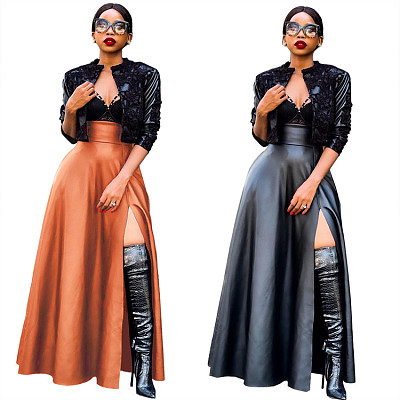 Wholesale Black High Waist Sexy Leather Skirt Women's Casual Dress Solid Color Fashion Skirt