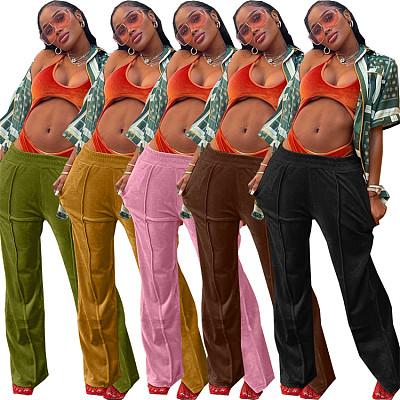 New Arrival 2021 Autumn Casual Sport Solid Color Velvet Fabric Loose Pants Woman Pants & Trousers