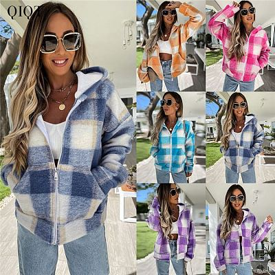 JENNY Fall Womens Clothing Loose Plaid Plush Multicolor Hoodie Zip Womens Fall Coats Women Warm Winter Coat