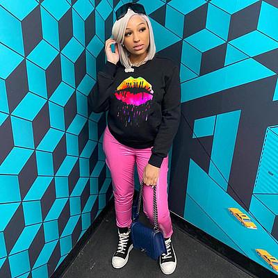 Wholesale New 2021 Women Round Neck Long Sleeve Print Pullover Hoodies Sweatshirts