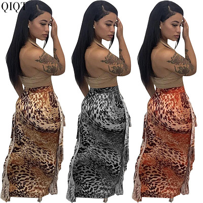 Good Quality Club Wear Wrap Leopard Print Skirt Long Skirts With Tassels For Women