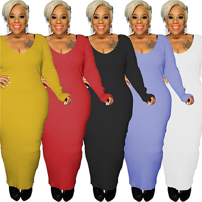 New Trendy Autumn Solid Color Long Sleeve V Neck Plus Size Women's Dresses Sexy Maxi Dress