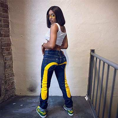 Fall 2021 women's fashion Denim Pants Print washed street wear straight tube casual jeans pants For Women