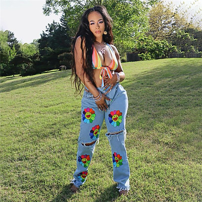 Fall 2021 women's fashion Denim Pants embroidered hole washed street wear straight tube casual jeans pants