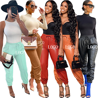 New Trendy Autumn Solid Color Casual Pants Sexy PU Leather Women Pencil Pants