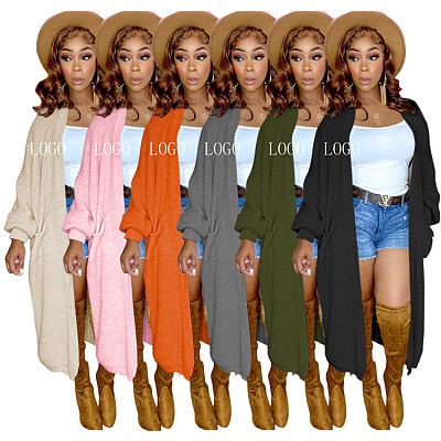 New Arrival 2021 Casual Solid Color Sweater Cardigan Coat Women Street Fashion Long Coat