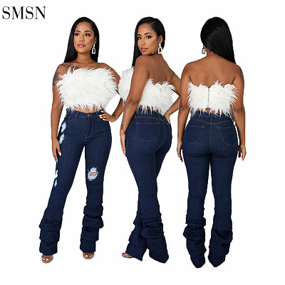 New Arrival Autumn Women'S Jeans Denim Casual Ripped Stacked Jeans Pants Jean Outfits For Women
