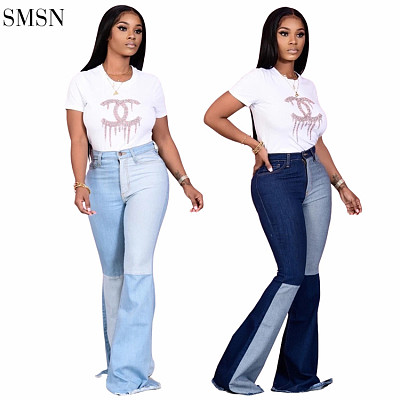 New Arrival 2021 Wholesale Sexy High Waisted Streetwear Patchwork Bell Bottom Jeans Denim Flared Jeans Women