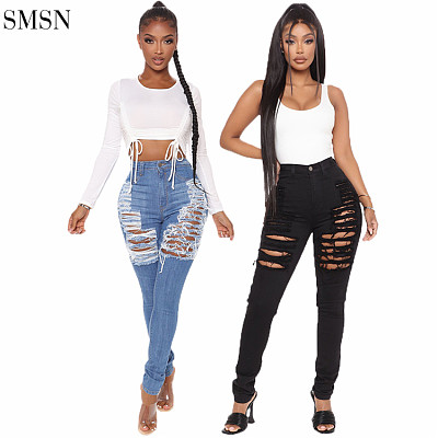 Latest Design Sexy Slim Elastic High Waisted Pencil Pants Ladies Skinny Ripped Jeans