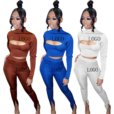 New Trendy Solid Color Long Sleeve Stand Collar Hollow Out Sexy Fall 2 Piece Set Women Bodycon Two Piece Pants Set