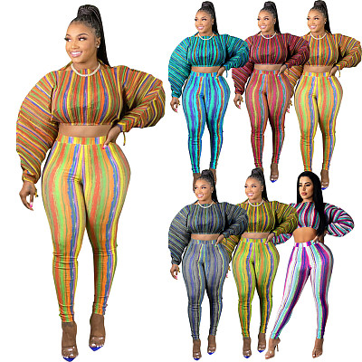 New Arrival  Casual Print Puff Sleeve Fall Crop Top 2 Piece Set Women Clothing Two Piece Pants Set