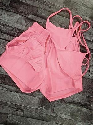 2021 women clothing solid color bikini three piece sets