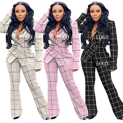 New Arrival 2021 Autumn Winter Casual Checked Jacket Suit 2 Piece Set Women Clothing Two Piece Pants Set