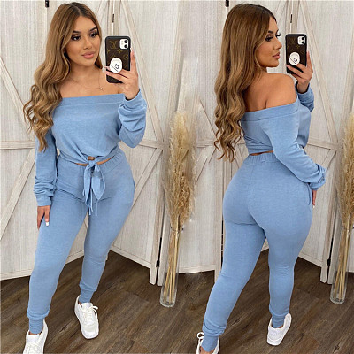 Best Design Solid Color Long Sleeve Strapless Sexy Crop Top 2 Piece Set Women Clothing Two Piece Pants Set