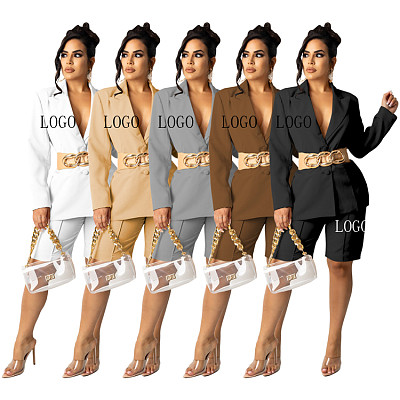 New Arrival Casual Solid Color Elegant Suit Jacket Shorts Fall 2 Piece Set Women Clothing Two Piece Shorts Set