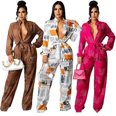Best Seller Autumn Casual Loose Jumpsuit Women Digital Printing Contain The Belt Women Jumpsuits And Rompers