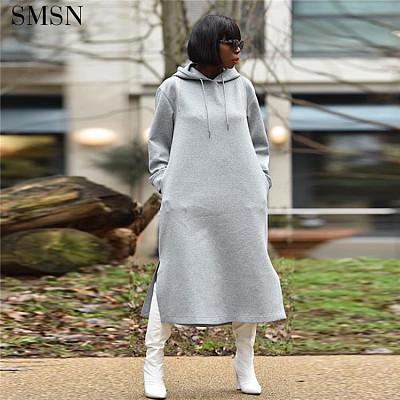 Casual Loose Sweatshirt Dress Solid Color Hooded Pocket Plus Size Zipper Sweat Hoodie Dress Long Sleeve Casual Dresses
