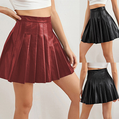 2021 New arrivals fall 2021 women clothing sexy woman black pleated leather short mini skirt