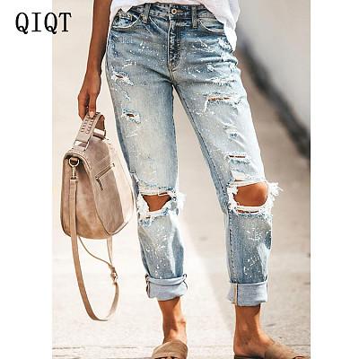 PEARL Women Clothes 2021 Bottoms Boyfriend Jeans Zip Fly Denim Pants Woman Jean Ripped Jeans