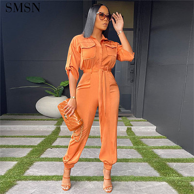 Fashion High Waist Tooling Shirt Fitted Black Jumpsuit With Pocket Women One Piece Jumpsuits For Women 2021