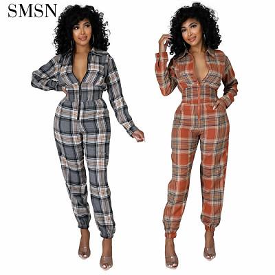 Fall 2021 Women Clothing Casual Loungewear Loose Plaid Print Leggings Jumpsuits Elegant Long Sleeve V Neck Jumpsuit For Women