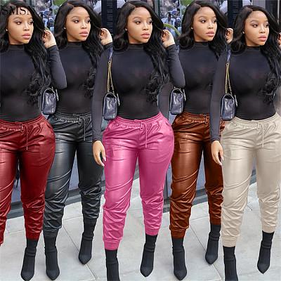 Good Quality Solid Color Pu Woman Pants 2021 Fashion Streetwear Womens Pants & Trousers