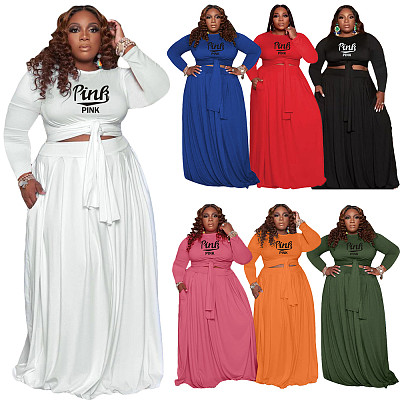 Wholesale New Long Sleeve Top And Skirt Sets 2 Piece Outfits Plus Size Women Clothing