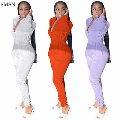 Lowest Price Autumn And Winter Solid Color Long Sleeve Jumpsuit Women Elegant One Piece Jumpsuits