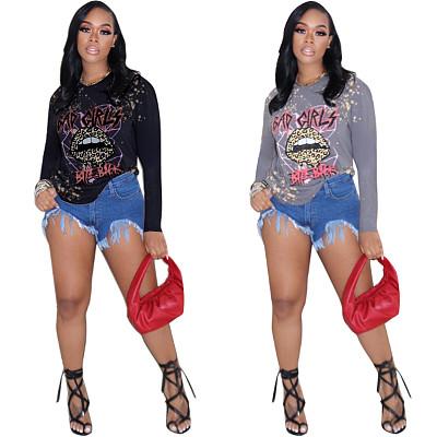 Fashion 2021 Fall Women Clothing Tops Women Leopard Print Lips Ladies Long Sleeve T Shirts