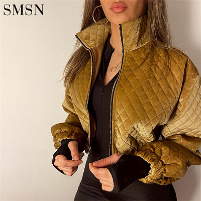 Wholesale Custom Solid Color Stand Collar Varsity Plaid Bomber Jacket Womens Crop Cotton Jackets Women