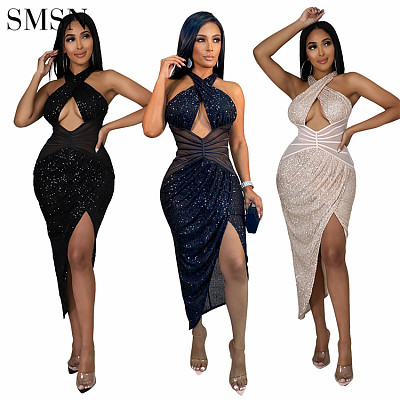 Hot Sale Fashion Apparel Design Trend Dress Lady Print Sexy Backless Dress  Solid Color Halter Club Sexy Dresses