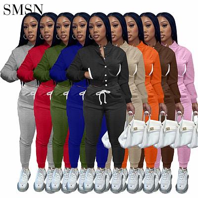 Hot Sale Plush Baseball Jacket Suit Joggers Sweat  Pants Two Piece Outfits Set Sportswear Ladies 2 Piece Pants Set Women