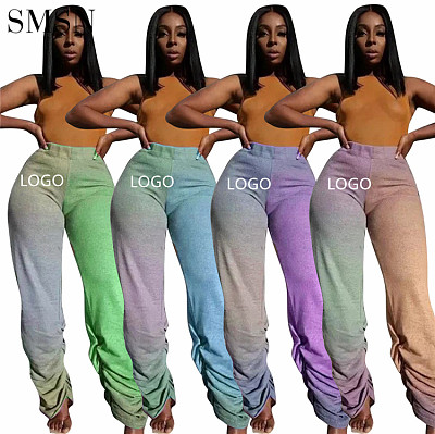 Fashionable Winter Women Clothes Casual Tie Dye Stacked Sweat Custom Pants For Ladies