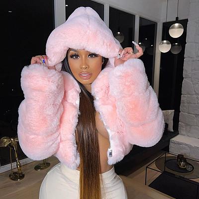 Winter Clothes Warm Coats For Women Fashion Plush Zipper Long Sleeve Solid Hooded Short Coat