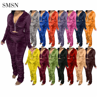 Hot Selling Velvet Crop Top Hoodie Stacked Pants Set Two Piece Pleated Sets Women 2 Piece