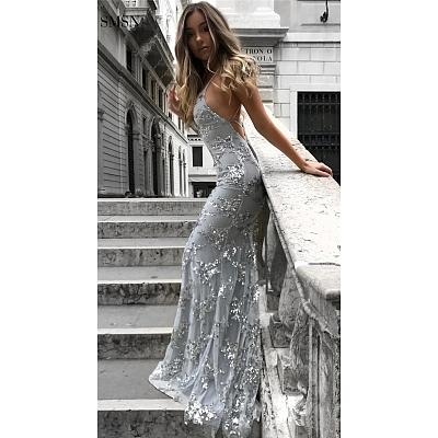 Gown Mermaid Tail Shaped Formal Luxury Evening Dresses Women Lady Elegant Spaghetti Strap Sexy Evening Dresses With Sequined