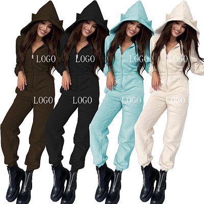 New Arrival 2021 Autumn Winter Solid Color Sportswear One Piece Jumpsuits Women Hoodie Jumpsuits And Rompers