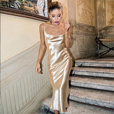 Luxury Sling Backless Club Wear Night Gown Satin Prom Elegant Casual Dresses Women Lady Elegant