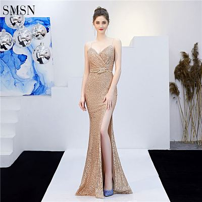 High Split Sling Sexy Backless Elegant Casual Evening Dresses With Sequined Luxury Party Gown Evening Dress