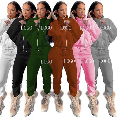 New Arrival Autumn Winter Casual Solid Color Zip Sportswear Ladies 2 Piece Set Women Clothing Two Piece Pants Set