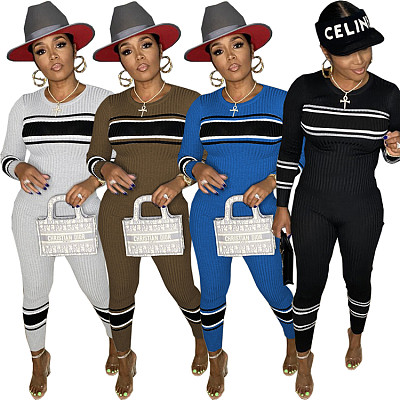 New Arrival Casual Round Collar Stripe Pattern Fall Set Woman Two Piece Set Bodycon Pants Two Piece Pants Set