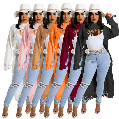 High Quality Solid Color Long Sleeve Pullover Tassels Short Front And Long Back Design Women Tops Fashionable Sweater