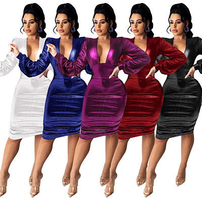 New Arrival Women Fashion Clothing 2021 Solid Long Sleeve Ladies Club Party Dress Woman Casual Dress