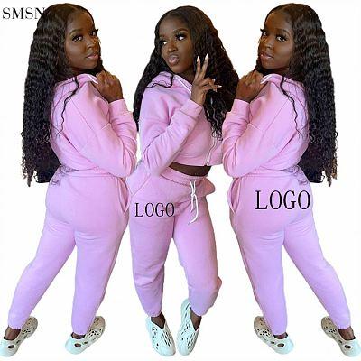 Fashion 2021 Women 2 piece set clothing Solid Color Casual Tracksuit Sports Suit Hoodie Ladies Two Piece Set