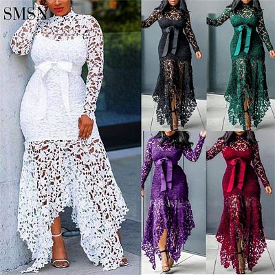 Irregular Stand Collar System Hollow Out Dresses Lady Party Vintage Long Sleeve Prom White Lace Dress