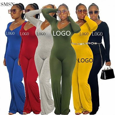 Good Quality Solid Color V Neck Jumpsuits Women 2021 Women Wide Leg One Piece Jumpsuits And Rompers