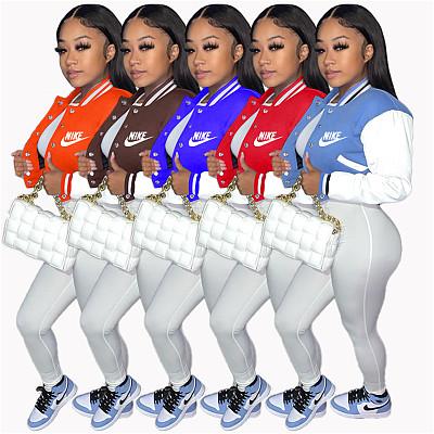Casual Contrast Color Pockets Button Up Baseball Jacket Long Sleeve Crop Top Women Autumn Coat
