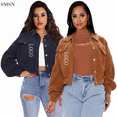 New Trendy Fall 2021 Casual Solid Color Womens Jackets Corduroy Womens Jackets & Coats
